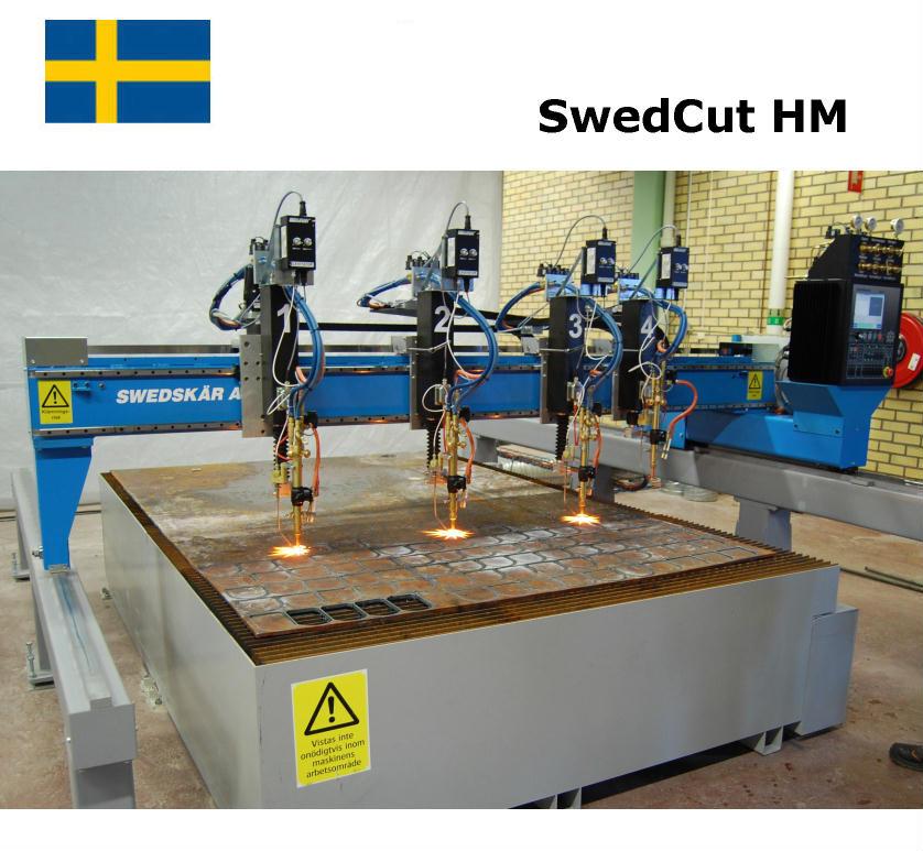 SwedCut HM med Burny Phantom. Utrustad med 4 brännare för gasskärning.